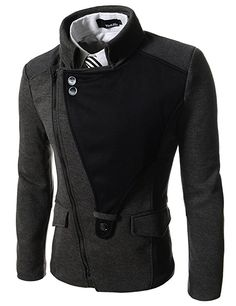 DJK21 TheLees Mens Casual Rider Style Stretchy Slim Zipper Jacket Jumper at Amazon Men's Clothing store: Wool Outerwear Coats