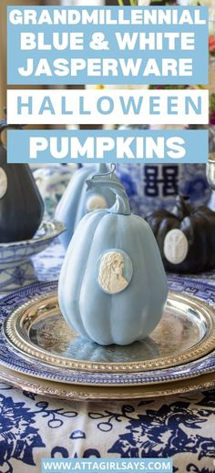 Step-by-step instructions for making Wedgwood jasperware style intaglios using polymer clay. Includes a video tutorial. Use these spooky clay cameos to decorate faux pumpkins and other items for Halloween. A great way to bring some grandmillennial style to your Halloween decor.