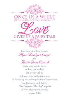 Fairy tale themed wedding invitation customized in fuchsia ink. #loveyourinvite #hotpinkwedding