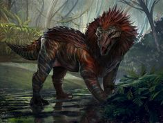 Dino Hyprid by Ahmed Maihope Mythical Creatures Art, Alien Creatures, Mythological Creatures, Magical Creatures, Monster Concept Art, Fantasy Monster, Monster Art, Creature Feature, Creature Design