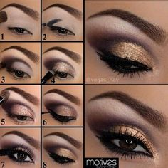 Eye Makeup Tips.Smokey Eye Makeup Tips - For a Catchy and Impressive Look Eye Makeup Steps, Smokey Eye Makeup, Eyeshadow Makeup, Makeup Cosmetics, Gold Eyeshadow, Makeup Tips, Ojos Color Cafe, Makeup For Brown Eyed Girls, Makeup Palette Storage