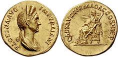 Imperial Rome AV Aureus ND Rome Mint struck circa 112/17AD 7.24g. Empress Plotina /wife Trajan
