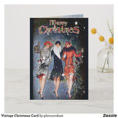 Shop Vintage Christmas Card created by glamourdaze. Vintage Christmas Cards, Holiday Cards, Retro Art, Christmas Shopping, Vintage Shops, Paper Texture, Merry, Seasons, Prints