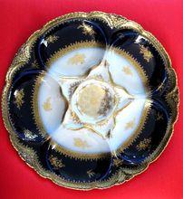 Antique Haviland Flow Blue Oyster Plate ~ Cobalt ~