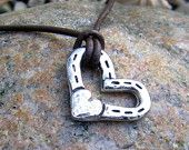 Heart and Horse Shoes Necklace, Rustic, Hammered Horse Jewelry