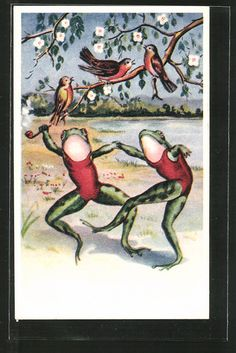 old postcard: AK vermenschlichte Frösche tanzen auf der Wiese, Vögel Frosch Illustration, Frog Pictures, Frog Art, Spiritual Symbols, Book Posters, Jumping For Joy, Frog And Toad, Reaction Pictures, Vintage Cards