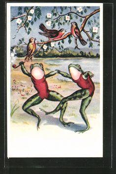 old postcard: AK vermenschlichte Frösche tanzen auf der Wiese, Vögel