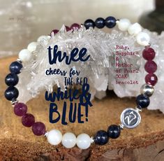 Celebrate America with our luxe red, white & blue bracelet!! This OOAK was thoughtfully created with inspiration from a few clients who requested a red, white & blue bracelet featuring Rubies, Sapphires & Mother of Pearl gemstones. USA jewelry | red white blue | patriotic jewelry | beaded bracelets | zen jewelz | ZenJen
