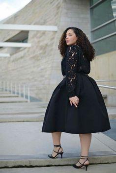Modest Black Lace Dress