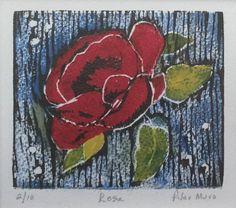 "Título: ""Rosa"" Técnica: Xilografia a 4 placas. Medidas: 10 x 10 cms"