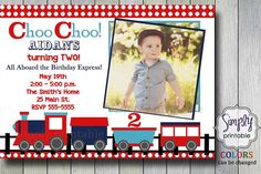 Train Birthday Invitation by simplyprintable on Etsy, $12.00