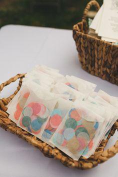 confetti pouches for the recessional, photo by Shannon Collins Photography http://ruffledblog.com/maas-building-philadelphia-wedding #weddingideas #ceremony