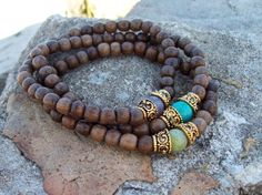 Bohemian Inspiration Wood Stack  Beaded Stretch by Angelof2, $24.00