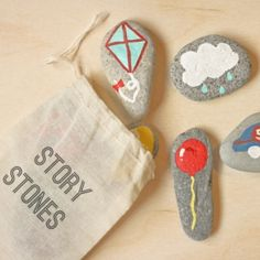 DIY Story Stones in a cloth bag. Just pull out pictures & let kids create imaginative stories. Such a fun Kids Game for Storytelling. Via Think Crafts Diy For Kids, Crafts For Kids, Arts And Crafts, Rock Crafts, Story Stones, Diy Toys, Stone Painting, Diy Gifts, Activities For Kids