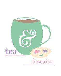 #flat #design #poster: Tea & Biscuits an english breakfast di TheBellaPrintShop su Etsy