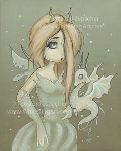 Fairy Dragon winter lowbrow fantasy cute snow art big eye- Flurry Belle