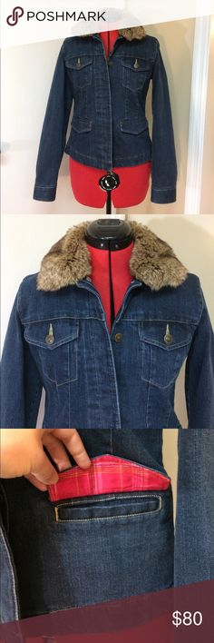 Eddie Bauer Denim Jacket with removable fur collar Adorable jean jacket lined with a cozy pink flannel and cute, removable fur collar, which looks so amazing! Never really worn, in like-new condition.  No stains, tears or signs of wear.  In very great condition. Eddie Bauer Jackets & Coats Jean Jackets
