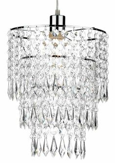 The Cilla lampshade has a polished chrome frame with strings of clear acrylic droplets supsended over three tiers. A large range of lampshades available from Luxury Lighting. Dar Lighting, Luxury Lighting, Lighting Store, Exterior Lighting, Lampshades, Polished Chrome, Clear Acrylic, Interior And Exterior, Chandelier