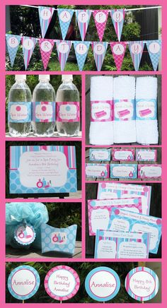 Spa Party Invitation & Printable Party Collection, EDITABLE text PDF file - you personalize at home with Adobe