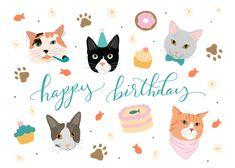 Happy cats - Happy Birthday Card  #greetingcards #printable #diy #birthday #cats