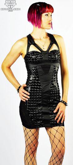 NEUROTRANSMISSION DRESS -- GIRDLE MESH INSETS, GEOMETRIC HOLOGRAPH VINYL, EXPOSED BACK ZIP #Goth #Gothic #Cybergoth