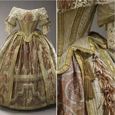 Commissioned in 1851 from designer Eugène Louis Lami by Queen Victoria for the Stuart Ball. The most glamorous of all Queen Victoria's surviving clothes, this costume was inspired by the court of Charles II. The rich brocade of the underskirt was woven in Benares. The lace of the berthe is a copy of seventeenth-century Venetian raised-point needle lace