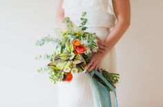 Green Wedding Shoes Garden wedding inspiration. Vintage wedding dress. Flower crown. Blue ribbon wrapped bouquet. Bohemian. photography: Alisandra Photography florals: JM Flora and The Bride's Cafe event design: Tart Event Co. dress: Gossamer makeup: Erika Nixon ribbon: Silk and Willow model: Tori Watson of Marvelous Things Photography