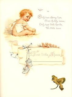 First Little Shoes ~ Vintage baby book page illustrated by Frances Brundage.