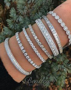 Diamond bangles + tennis bracelets + statement jewelry + unique bracelets. Gift for her. #unique #diamonds #jewelry