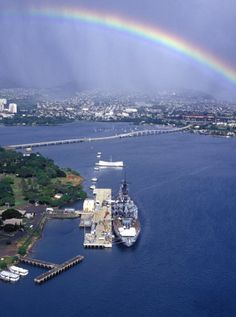 Rainbow over Pearl Harbor, Oahu, Hawaii. There is a rainbow somewhere in Hawaii practically every day.