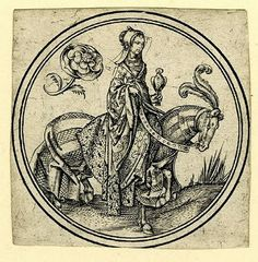 The Queen of Roses. German, 1500. Instead of being divided into hearts, spades, clubs, and diamonds, the set is divided into five different groups (roses, columbines, carnations, parrots, hares) and each suite has ten numbers and four figures (king, queen, valet, knave).