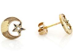 14k Real Yellow Gold 09cm Moon  Star Celestial Unisex Post Earring >>> You can get additional details at the image link.