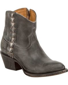 415d74696ee4 Lucchese Women s Chloe Black Goat Leather Geometric Overlay Western Booties  - Round Toe