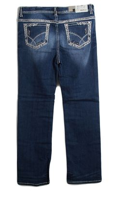 Grace in LA Plus Size Jeans Straight Leg with Shooting Star Embellished Pockets