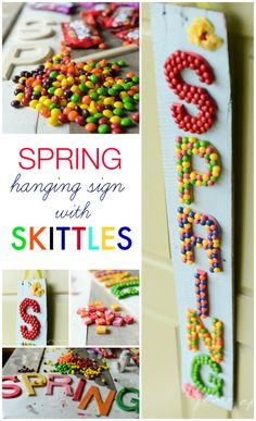 Spring hanging sign with Skittles-www.plac... #shop #VIPfruitflavors #cbias