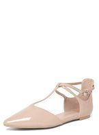 Womens Wide Fit Nude 'Hally' Flats- Nude
