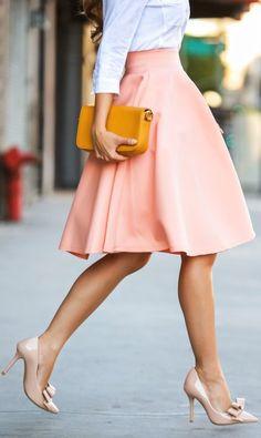 White Shirt + Blush Skirt + Blush Patent Gorg Bowed Pumps