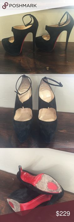Christian Louboutin super platform heels 39.5 6inch heels approx 2.5 inch platform.. suede and recently cleaned.. please look at the red of the soles as I wore them.. these are suede.. no damages but the black is a distressed black suede.. Christian Louboutin Shoes Platforms