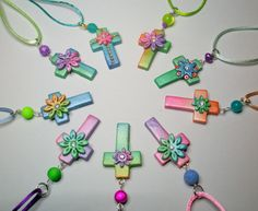https://flic.kr/p/fgP8jV | Pearl Neck Crosses | Hand tinted pearl polymer clay - handmade items