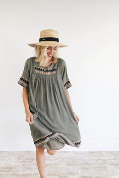 Embroidered Olive Dress | ROOLEE