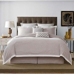 Decorate your bedroom in soft comfort and style with the Real Simple Soleil Duvet Cover. This dynamic chambray bedding features jacquard pleated white stripes with clean, simple lines and rich color that will look great with any décor.