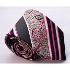 Галстук ярко-розовый в полоску с абстракциями - купить в Киеве и Украине по недорогой цене, интернет-магазин
