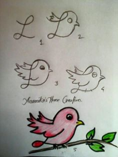 Step by Step drawing tutorials and drawing lessons for kids of all ages. Art Drawings For Kids, Bird Drawings, Doodle Drawings, Drawing For Kids, Animal Drawings, Doodle Art, Easy Drawings, Pencil Drawings, Art For Kids