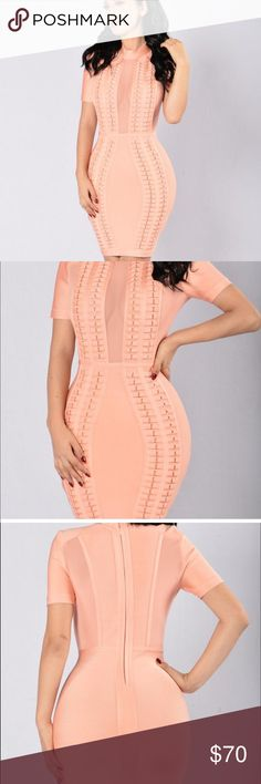 Coral Bandage Dress Never worn. New with tags. Coral bandage dress Fashion Nova Dresses