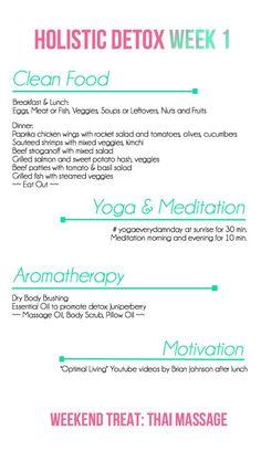Holistic Detox Week 1 - Clean Food, Yoga, Aromatherapy, Meditation and Motivation