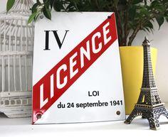 Plaque Licence 4 emaillee 20x15cm / Decoration authentique de bar / Plaque emaillee vintage, decoration pour la maison