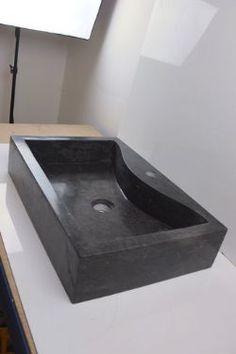 Large Black Rectangular Marble Sink 55 cm x 37 cm ( st30 )