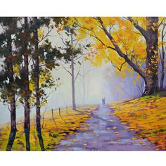Yellow trees Oil Painting road trail artwork by GerckenGallery, $98.00