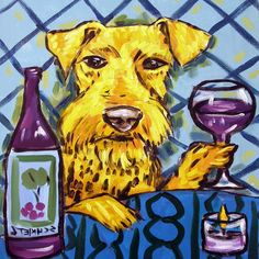 airedale terrier wine coaster animal dog art tile