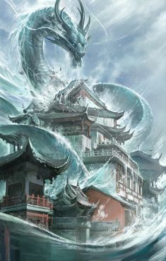 Flood by Sandara Tang on ArtStation. Dragon Art, Sci Fi, Artist, Artwork, Anime, Wallpapers, Water Dragon, Dragons, Kites